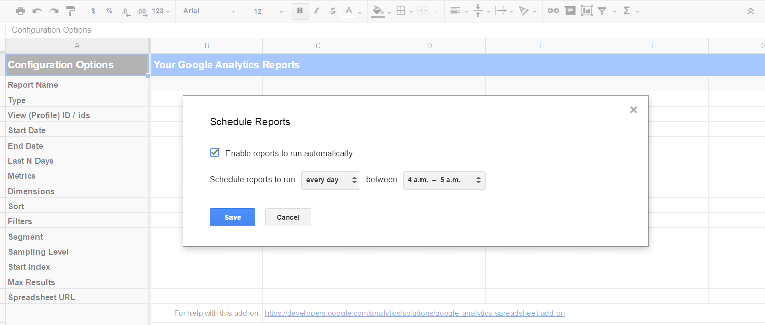 Google Analytics Spreadsheet Add On