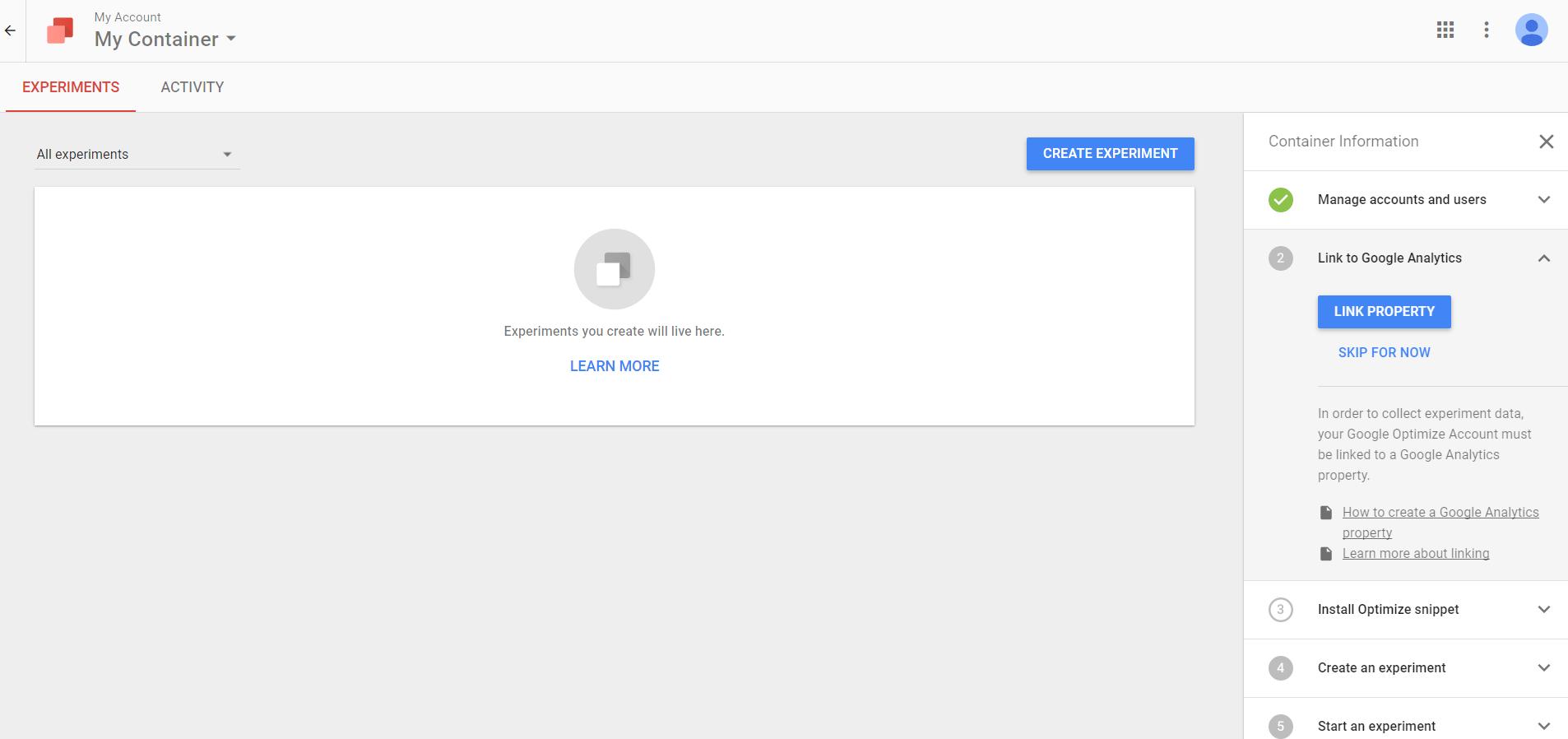 Bild: Google Optimize Account Übersicht