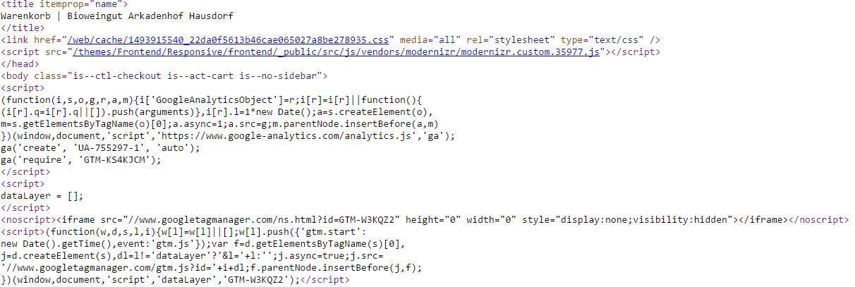 Bild: Sourcecode Testing ob Googl Optimize korrekt implementiert wurde