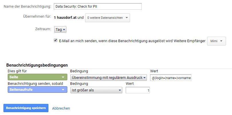 Custom Alert für PII Check