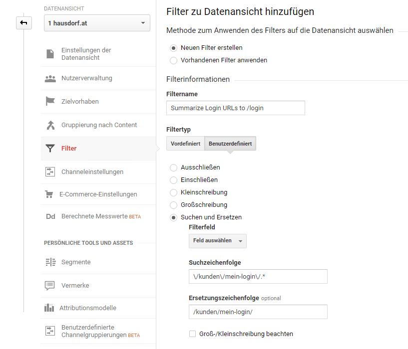 Datensansichtsfilter URLs zusammenfassen