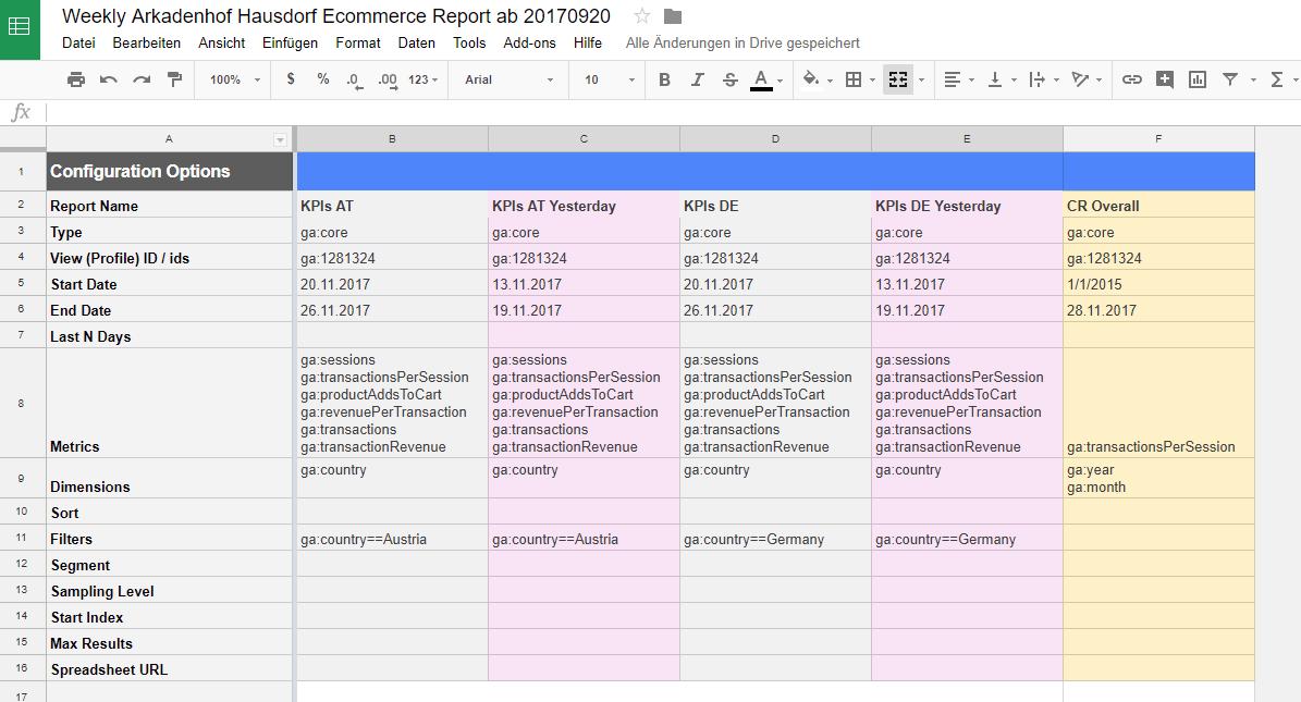 Google Analytics Spreadsheet Add On Datenabfrage