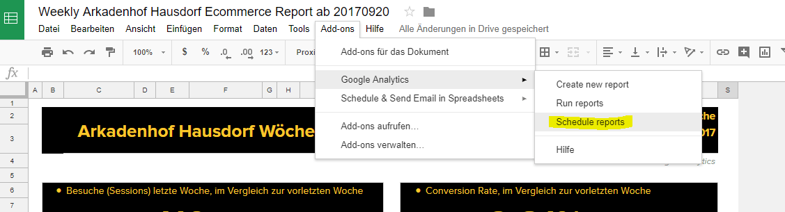 Google Analytics Spreadsheet Plugin Step 6