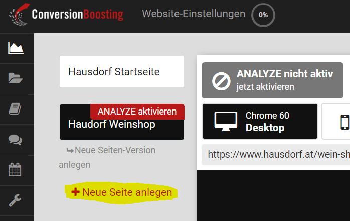 ANALYZE Website Einstellungen
