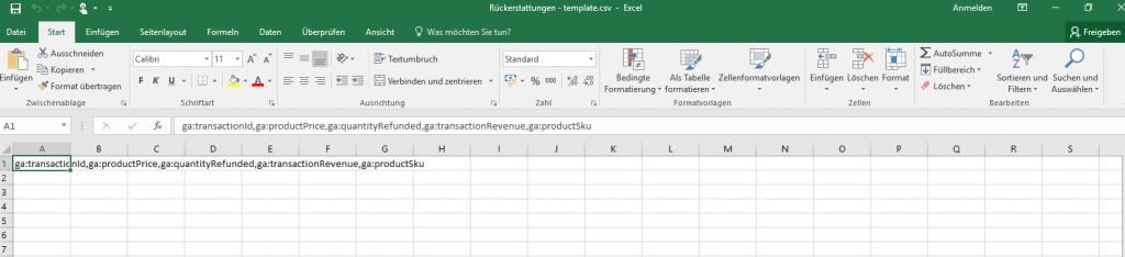 Data Import CSV Datei