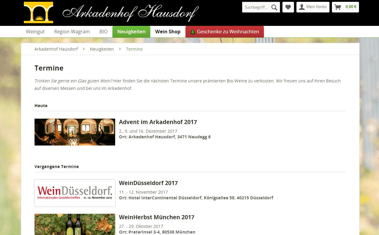 hausdorf.at Termine Übersicht