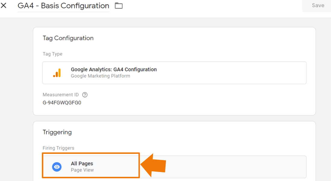 All Pages Trigger für alle Google Tags