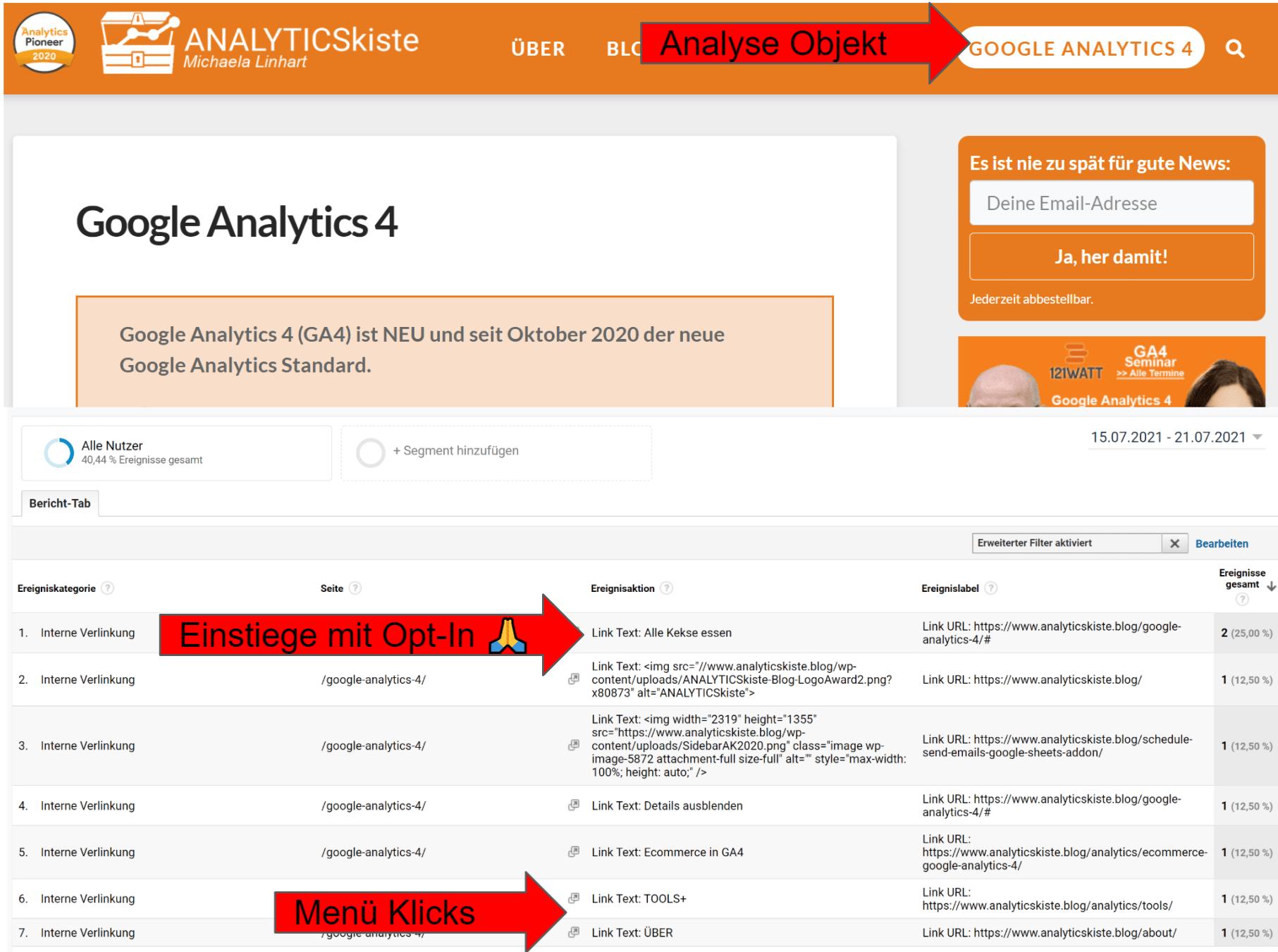 Analyse der GA4 Seite auf analyticskiste.blog