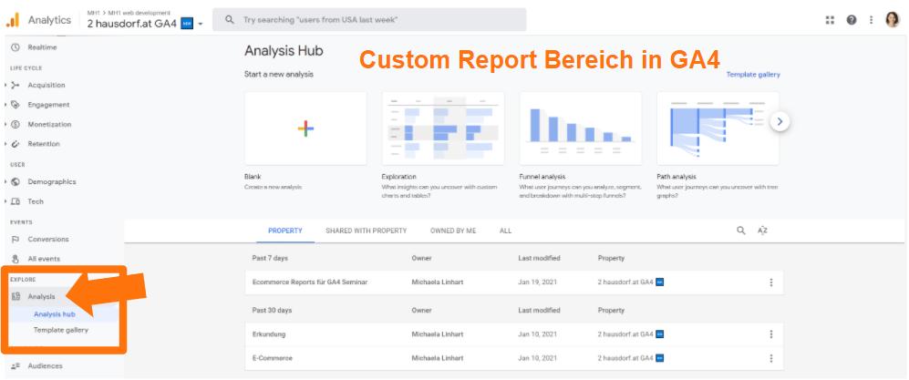 Analysis Hub in Google Analytics 4