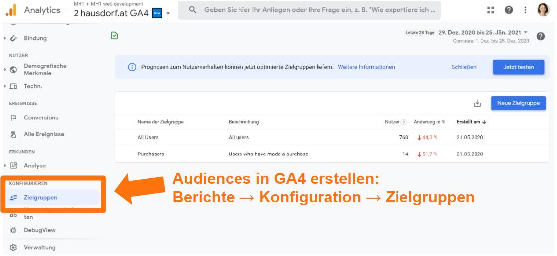 Audiences in Google Analytics 4 erstellen