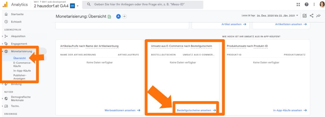 Bestellgutschein Detailreport in Google Analytics 4