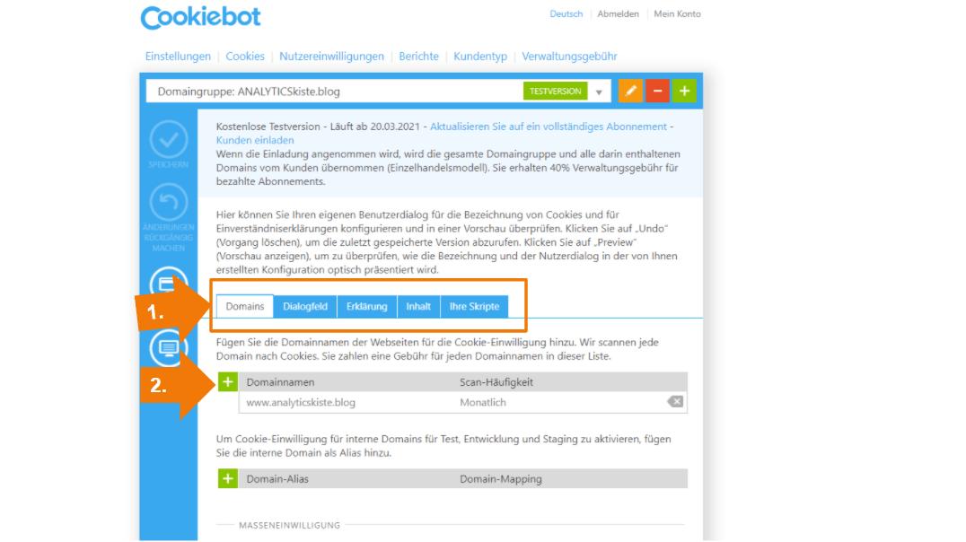 Cookiebot Banner Setup - Domainnamen eintragen
