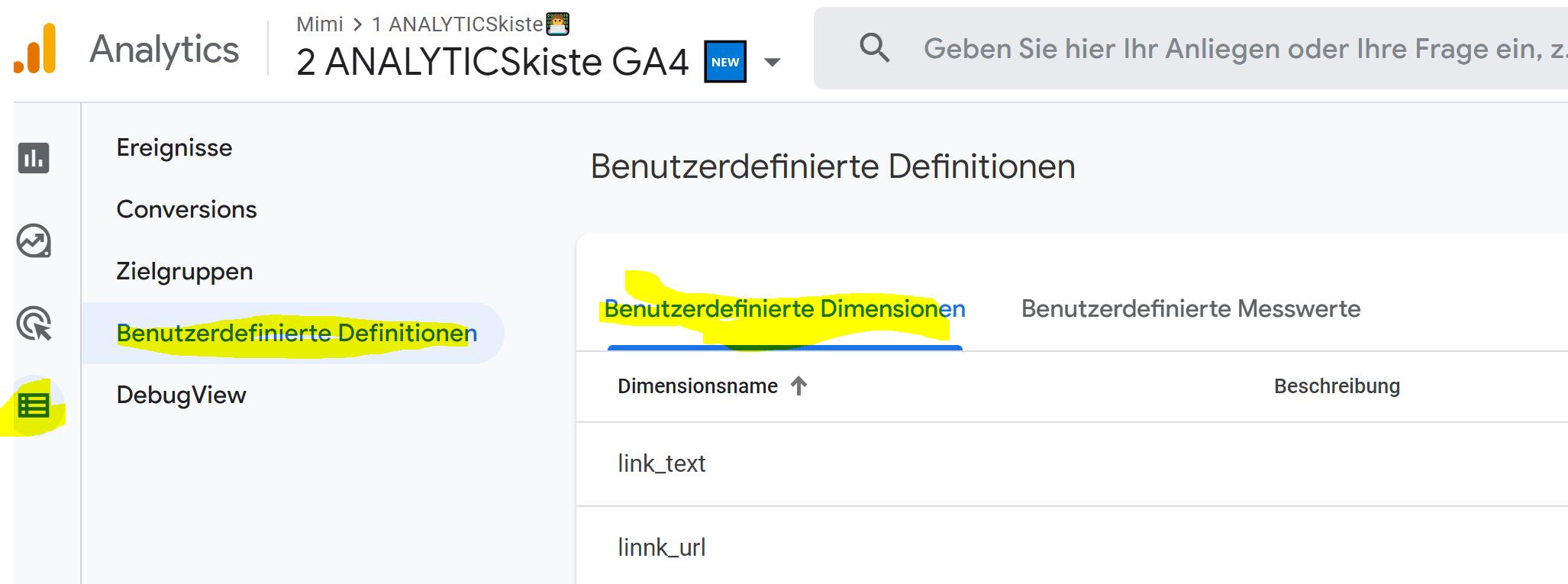 Custom Dimension Setup in GA4