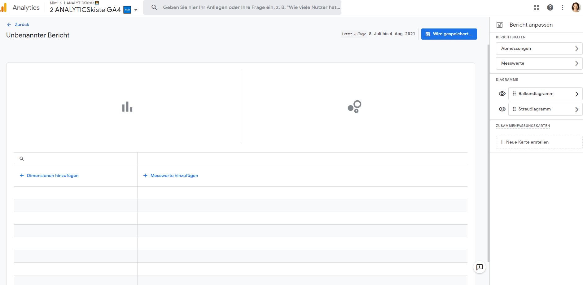 Detailbericht ohne Vorlage in GA4 erstellen