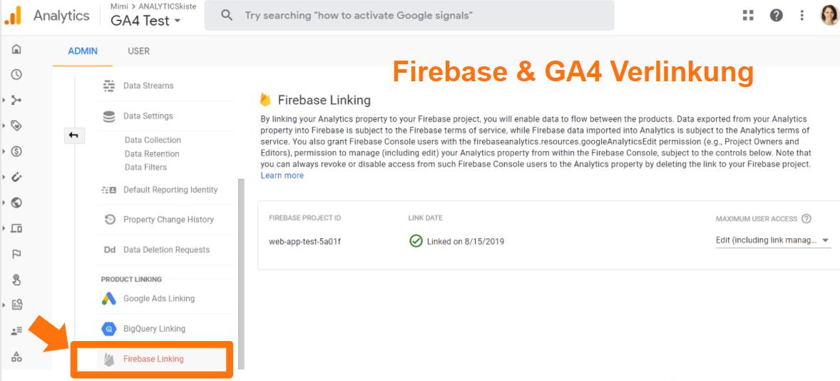 Firebase und Google Analytics 4 Verlinkung