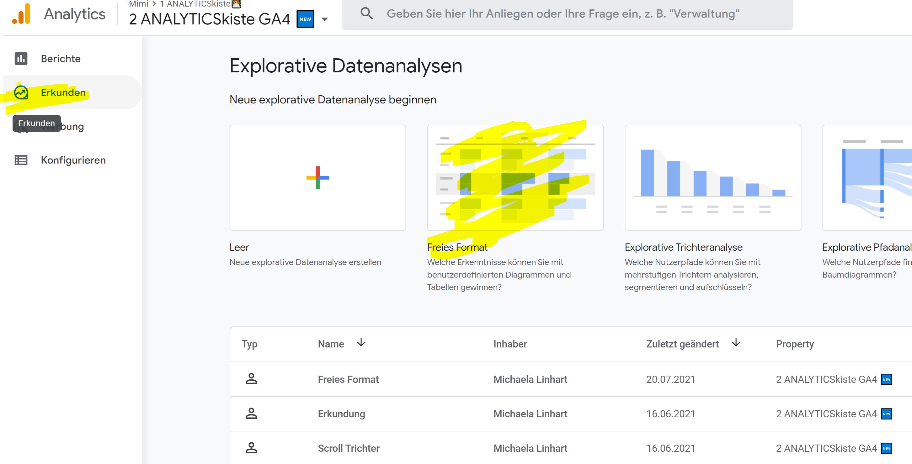 Freies Format für Interne Verlinkung Analyse in GA4