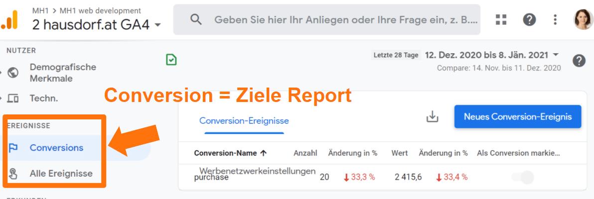 GA4 Conversion bzw. Ziele Report