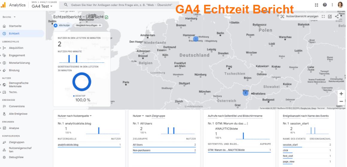 GA4 Echtzeit Bericht