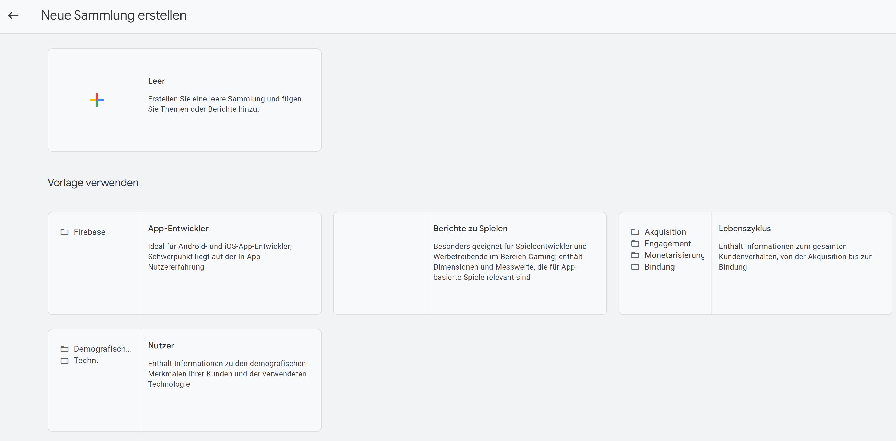 GA4 Neue Sammlung Leer oder mit Vorlage