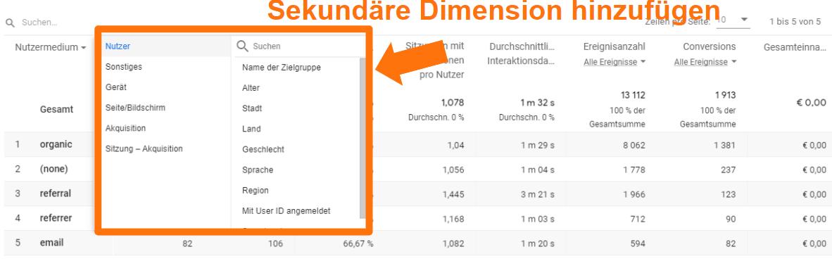 GA4 Sekundäre Dimension in Berichten hinzufügen