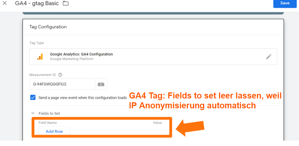 GA4 Tag - Fields to set leer lassen