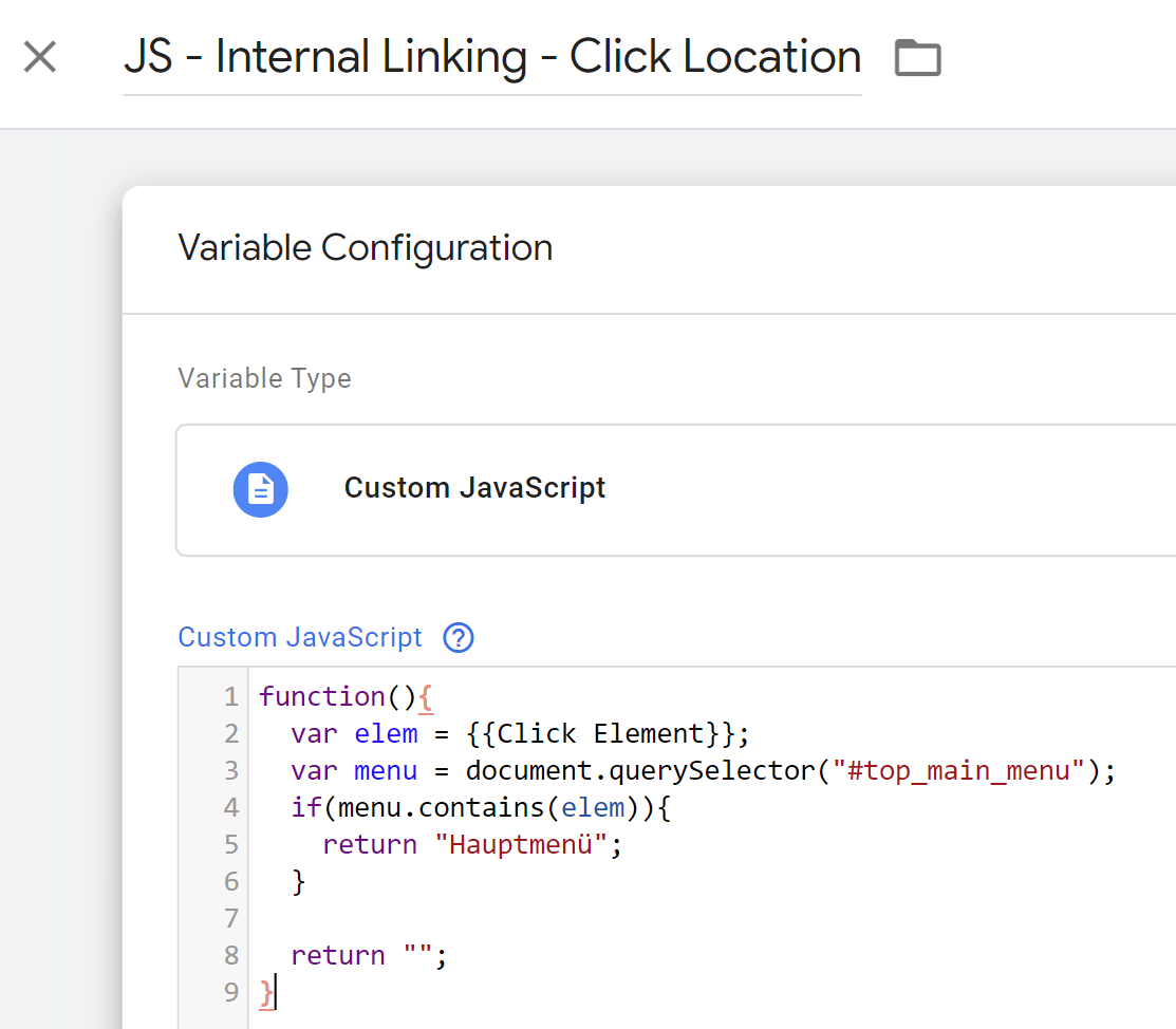 GTM Variable - Click Location
