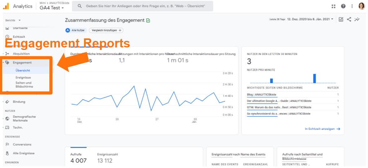 Google Analytics 4 Engagement Reports