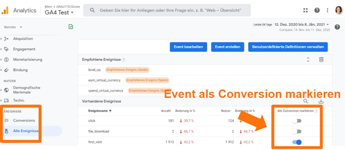 Google Analytics 4 - Ereignis als Conversion markieren