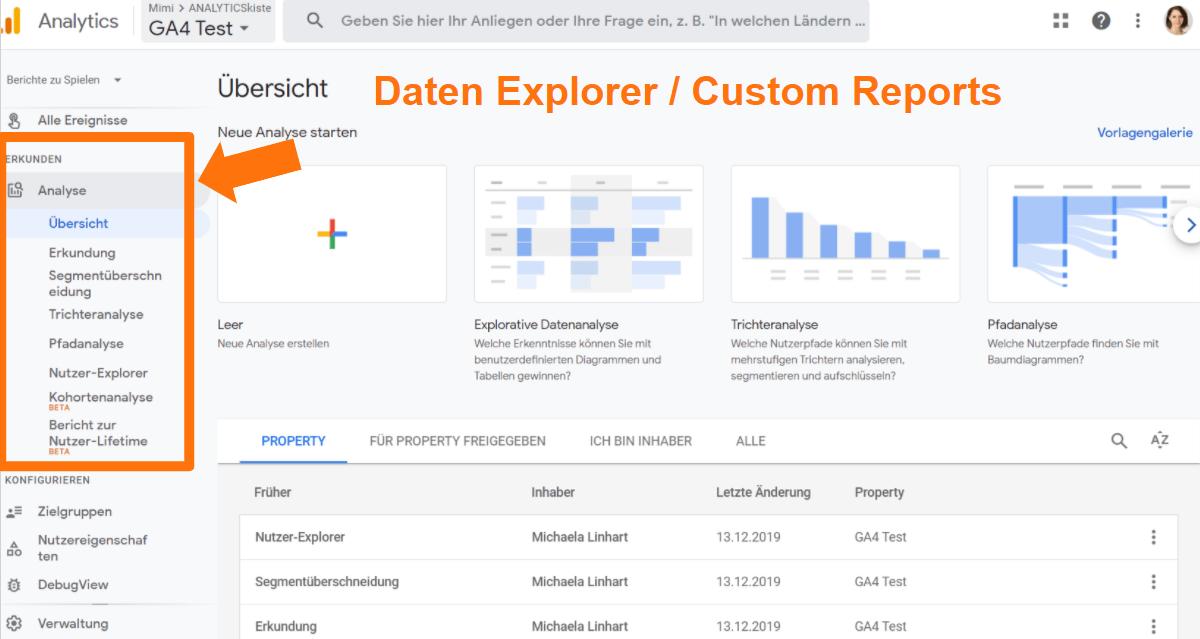 Google Analytics 4 Explorer bzw. Advanced Analysis