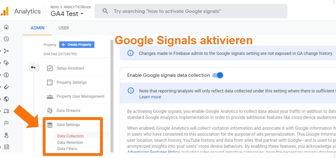 Google Analytics 4 - Google Signals aktivieren