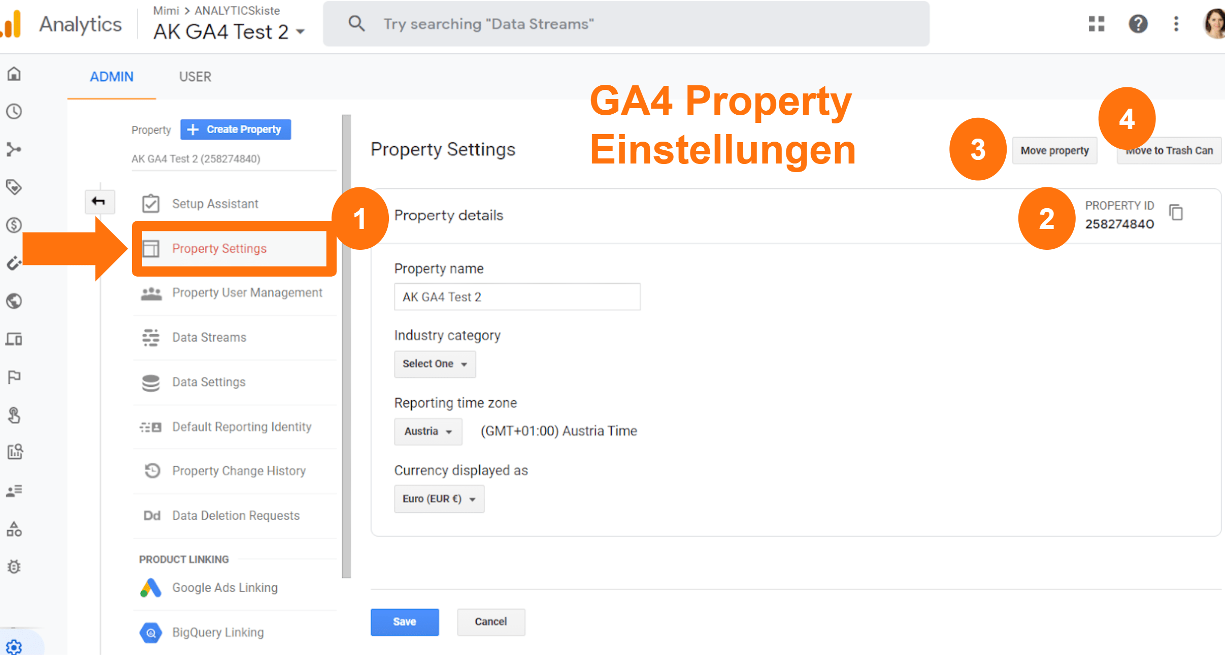 Google Analytics 4 - Property Einstellungen