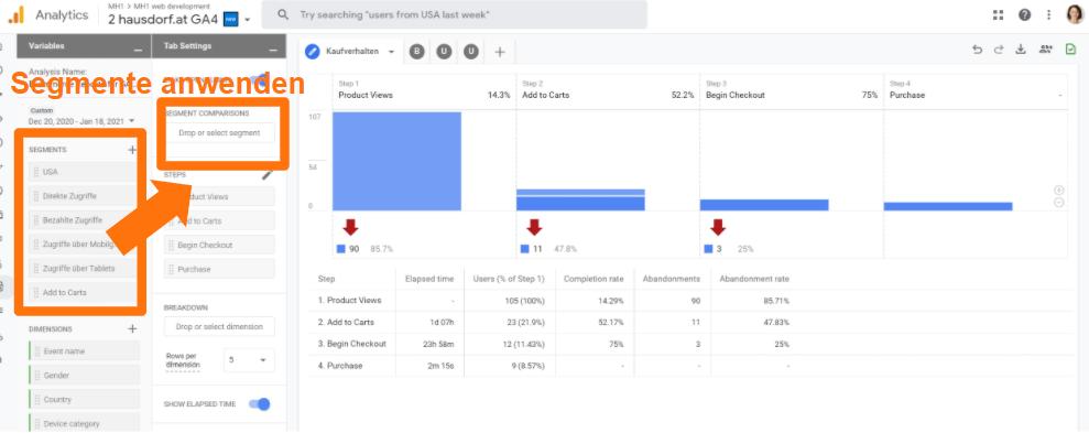 Google Analytics 4 - Segmente in Custom Funnels anwenden