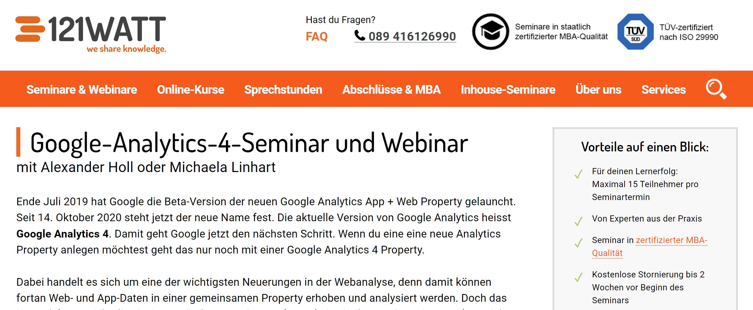 Google Analytics 4 Seminar bei 121Watt
