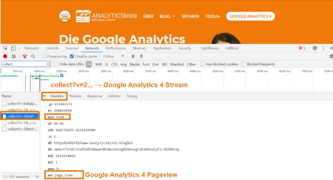 Google Analytics 4 Stream in der Developer Console