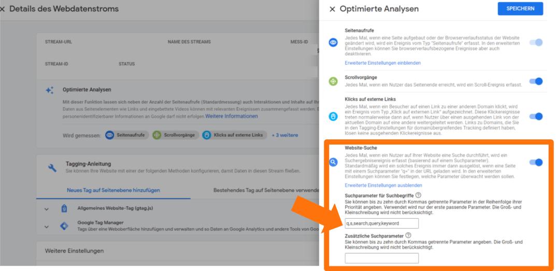 Google Analytics 4 - Suchparameter anpassen bei Interner Suche