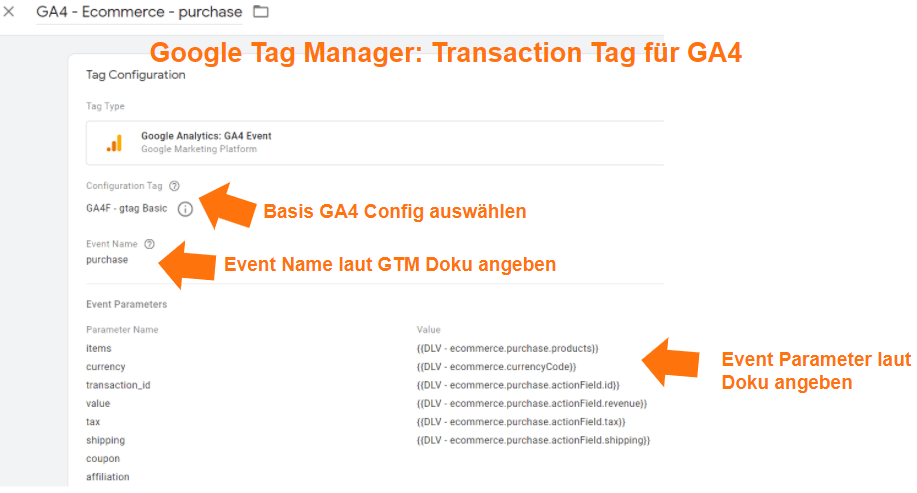 Google Analytics 4 Transaktions Tag im Google Tag Manager