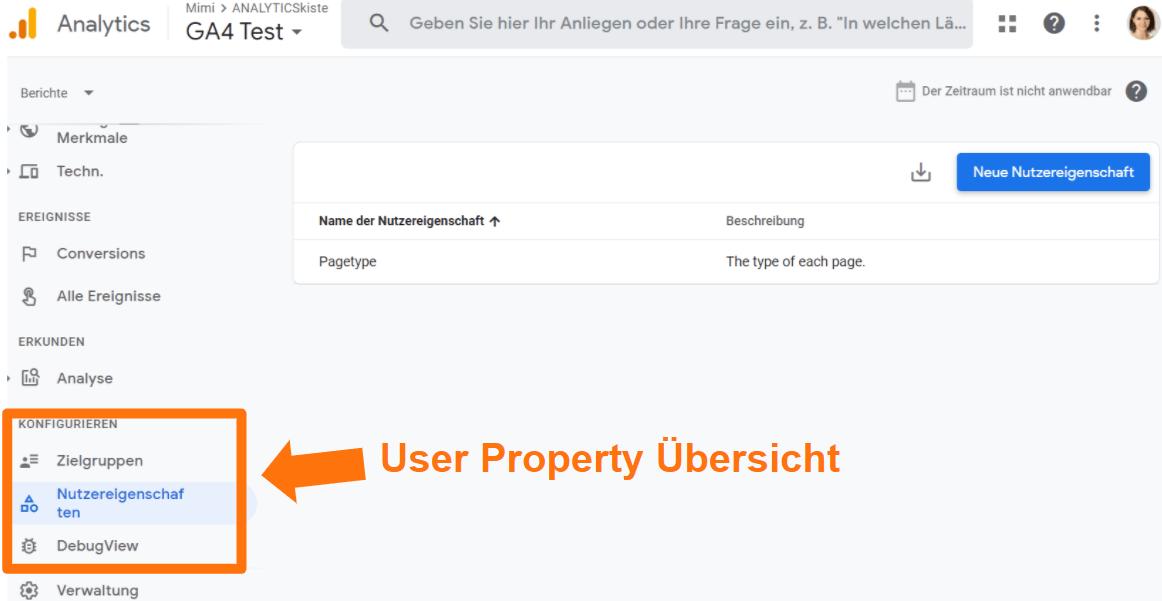 Google Analytics 4 User Property Konfigurations Bereich