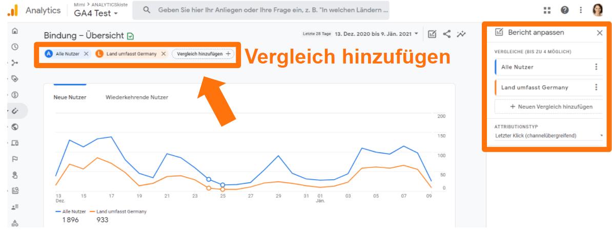 Google Analytics 4 Vergleiche hinzufügen (ehemals Filter)