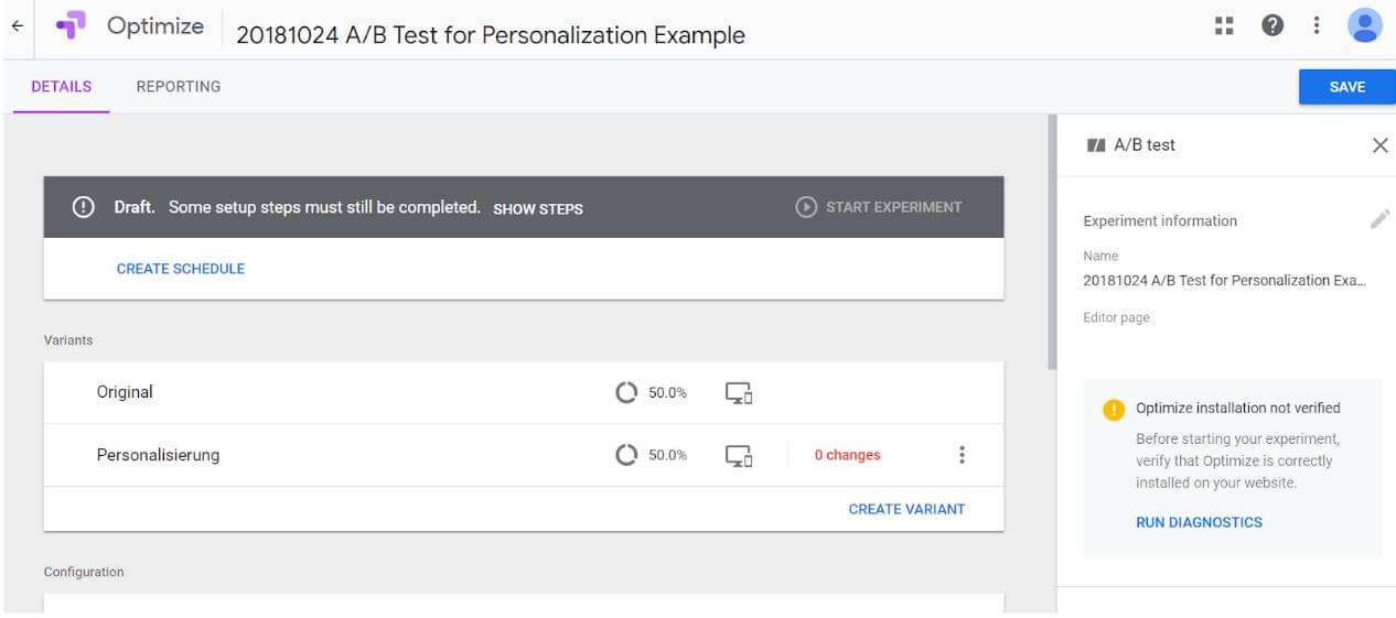 Google Optimize Setup step 1 - AB Test