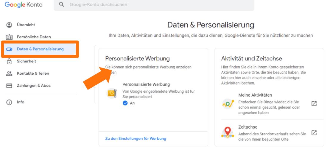 Mein Google Konto - Daten & Personalisierungs Einstellung