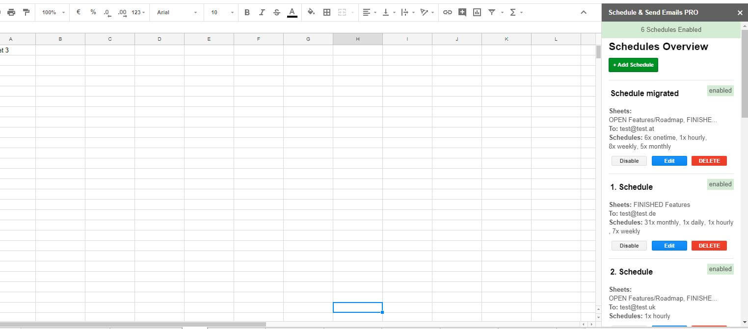 Multiple Schedules Oberfläche