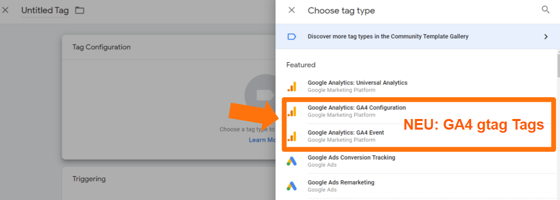 Neu - GA4 gtag Tags im Google Tag Manager