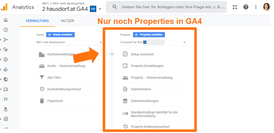 Nur noch Properties in GA4