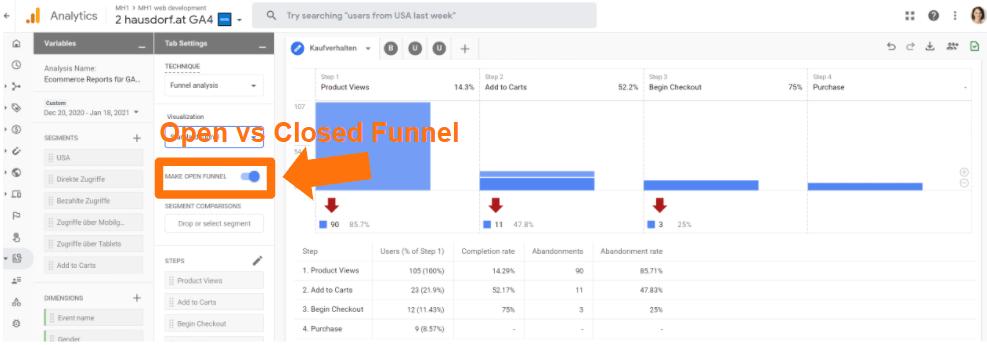 Open vs Closed Funnel in Google Analytics 4
