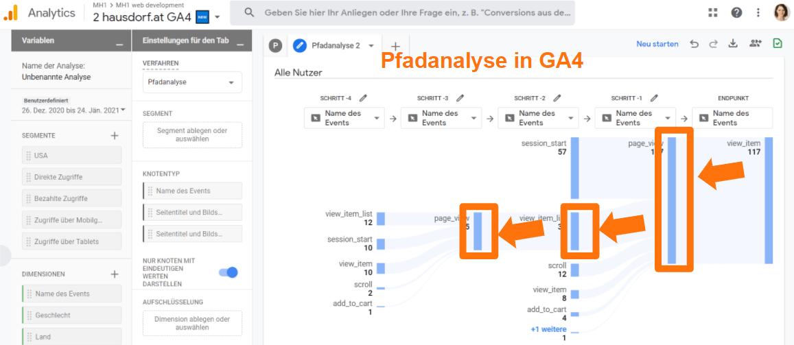Pfadanalyse in Google Analytics 4