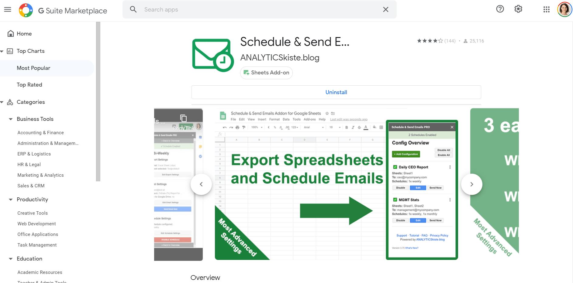 Screenshot: Schedule & Send Emails Addon im GSuite Marketplace
