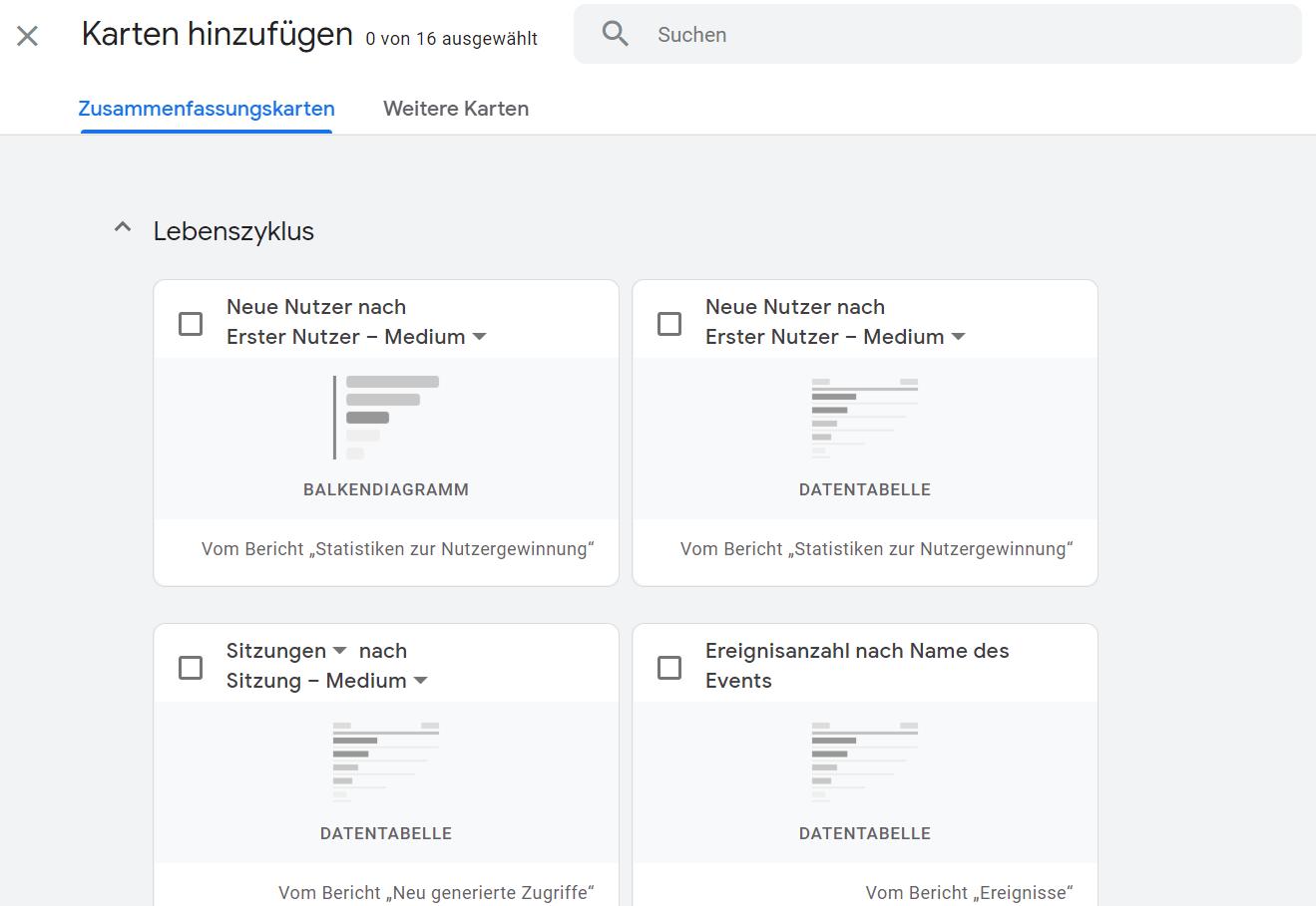 Übersichtsbericht in GA4 - Karten auswählen