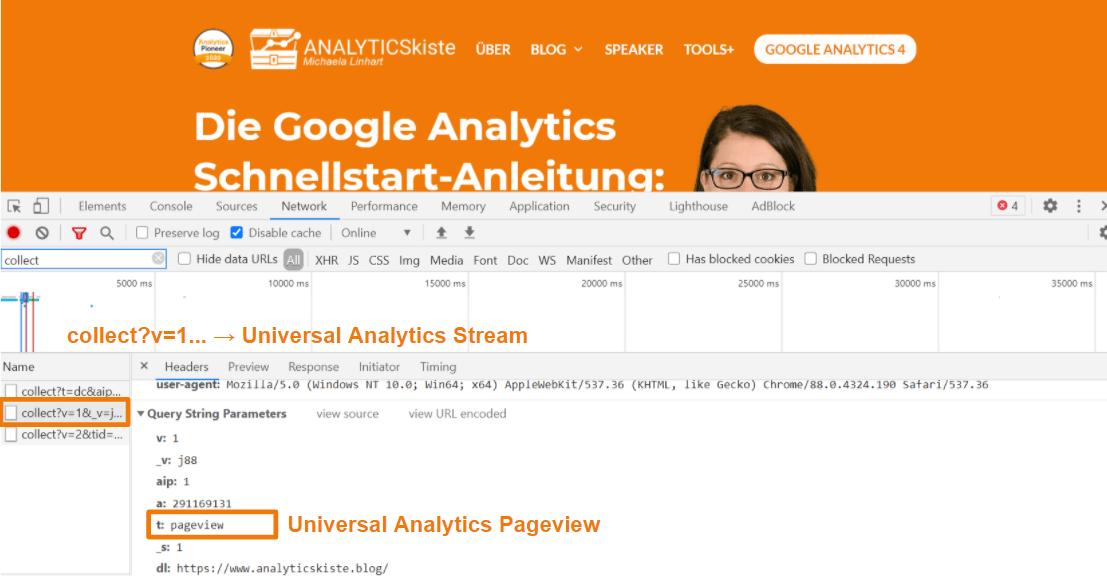 Universal Analytics Pageview Stream in der Developer Console