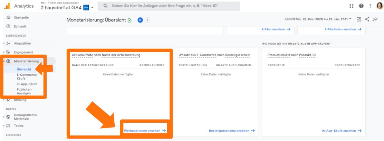 Werbeaktionen Detailreport in Google Analytics 4