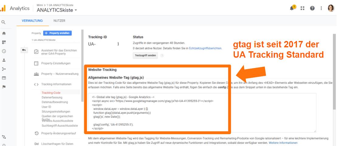 gtag Tracking Standard UA
